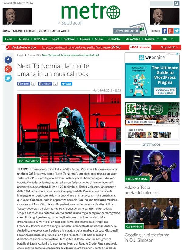 Fotografia di Gaetano Cessati per l'articolo su Next To Normal sul quotidiano Metro