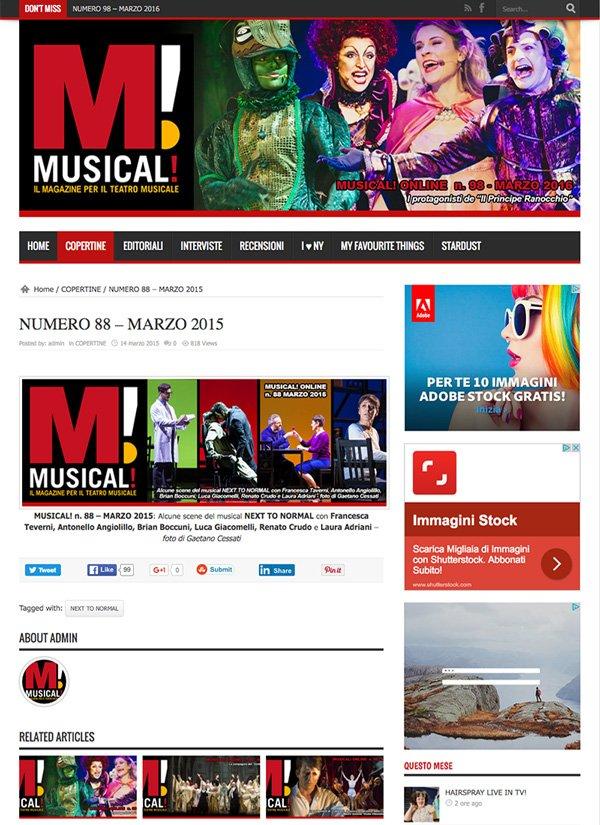 Le fotografie di Next To Normal – Italia di Gaetano Cessati sono in copertina su Musical!