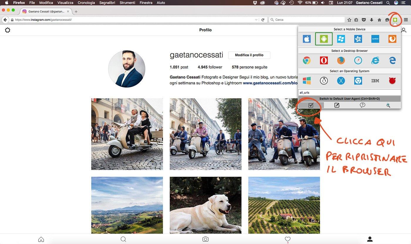 Come caricare foto su instagram da pc-mac