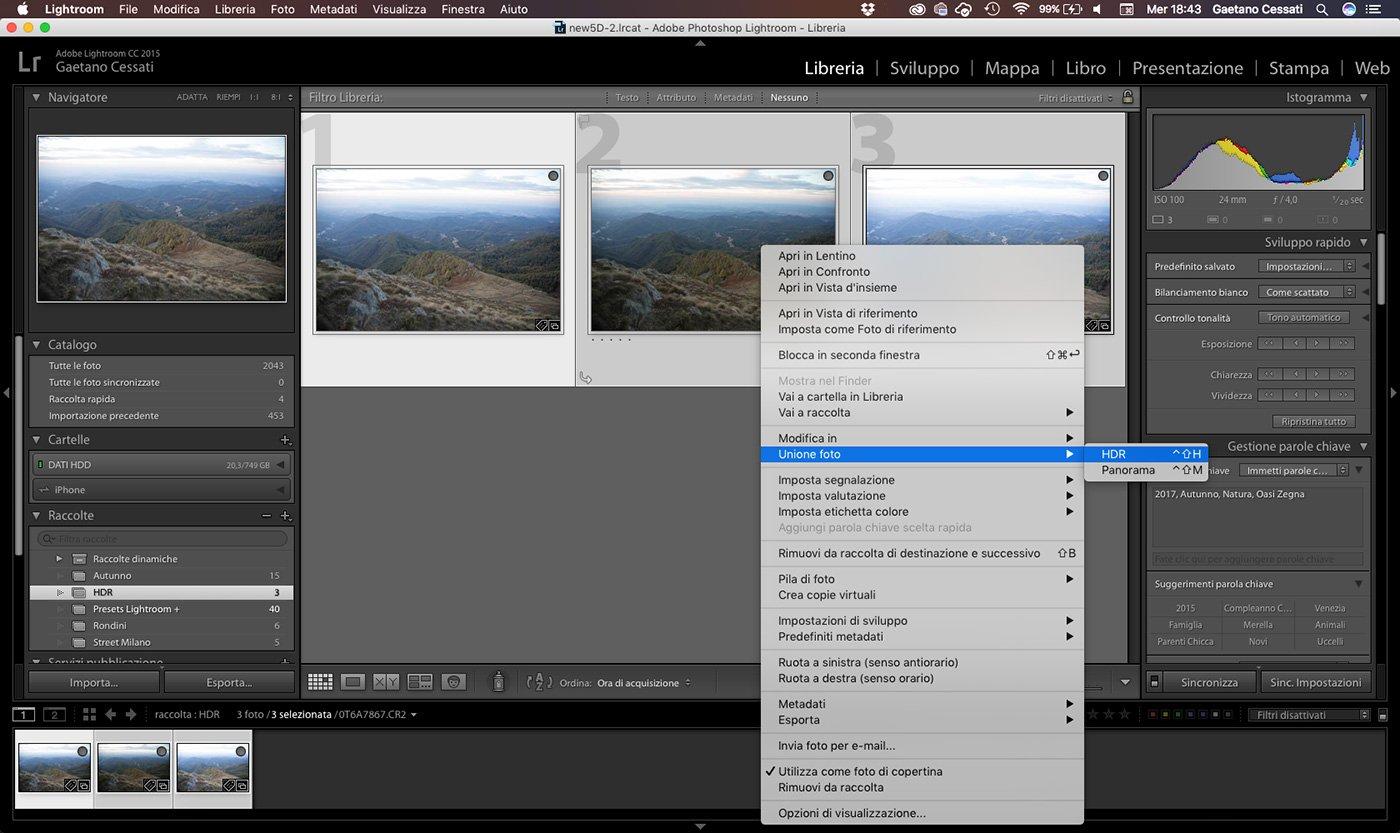 2 - come sviluppare una foto HDR con Lightroom