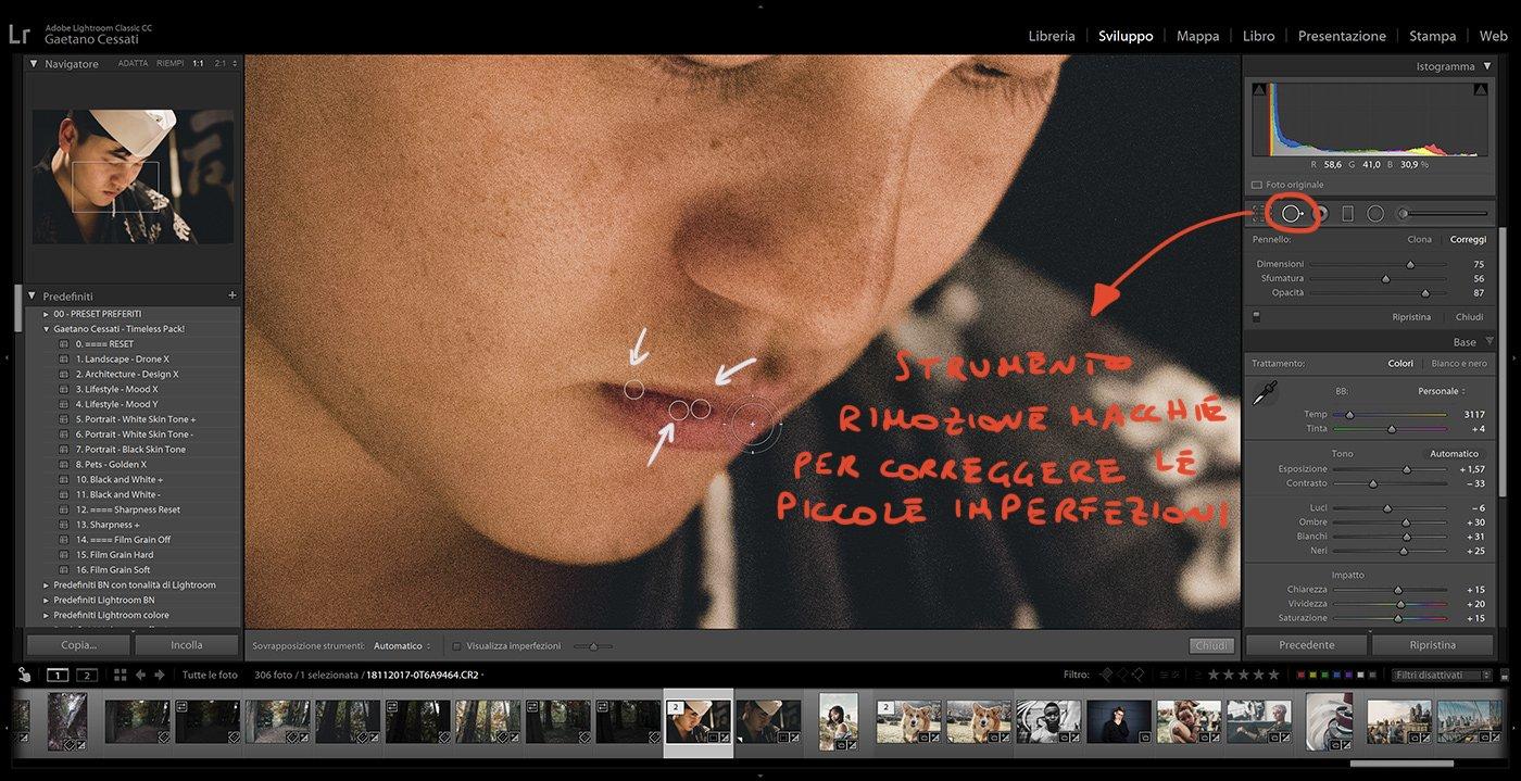 14. Come usare i preset con Lightroom Classic - come rimuovere le imperfezioni